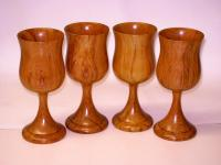 Heart Rimu Wooden Wine Goblets