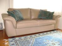 Leather Sofa with Wooden Legs