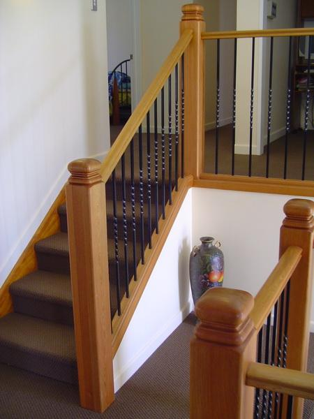 Timber Balustrade with Wrought Iron Balusters